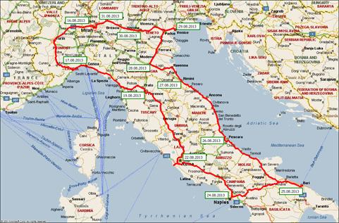 Карта маршрута италия – 2013